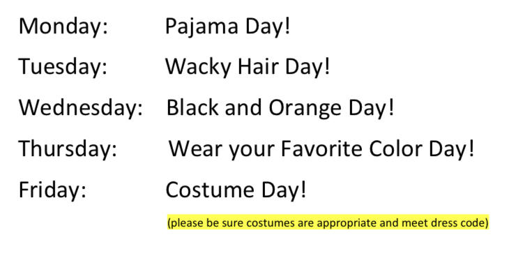 Elem. Spirit Week 10/26-10/30