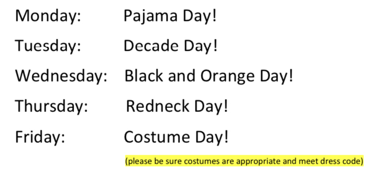 Jr./Sr. High Spirit Week 10/26-10/30
