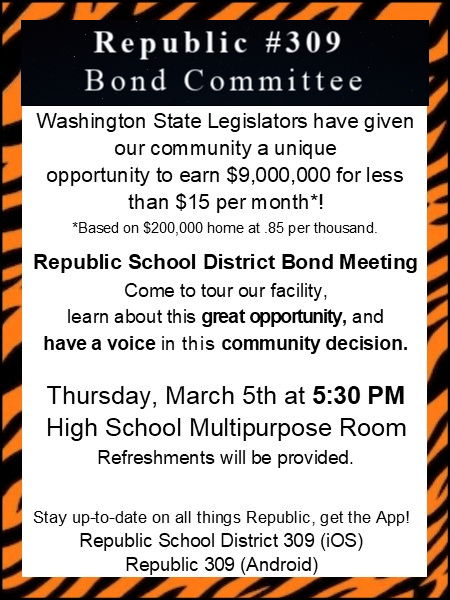 Bond Committee Meeting March 5 at 5:30 PM HS Cafeteria